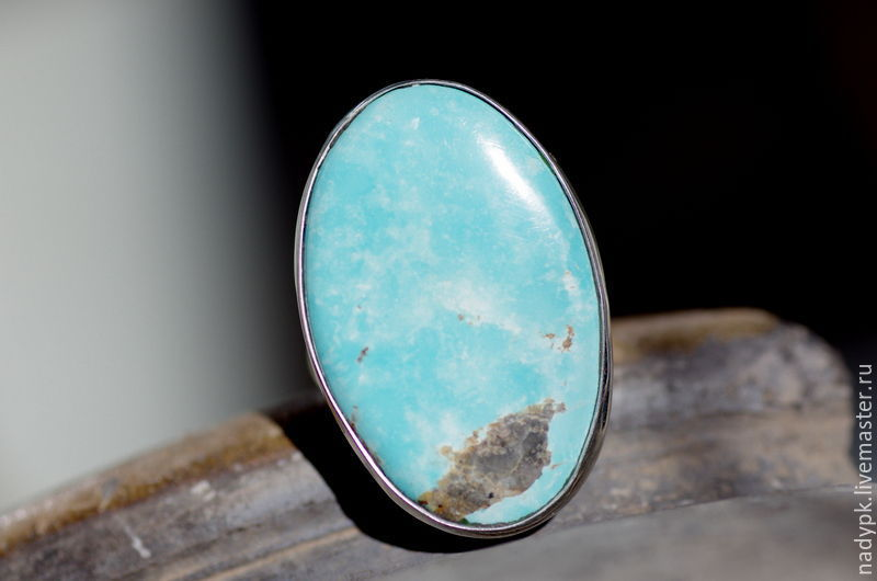 Ring with turquoise, Blue lagoon, silver, natural turquoise, Rings, Moscow,  Фото №1