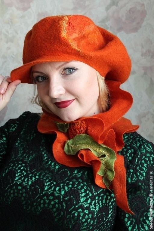 """Береты ручной работы. Ярмарка Мастеров - ручная работа. Купить """"Pumpkin"""" авторский валяный комплект. Handmade. Головные уборы для женщин"""