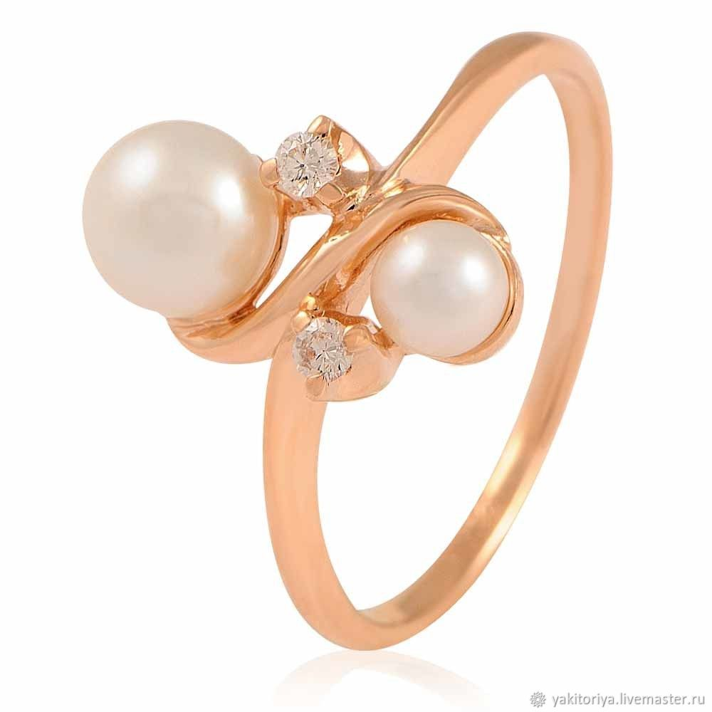585 gold ring with natural pearls and diamonds, Rings, Moscow,  Фото №1