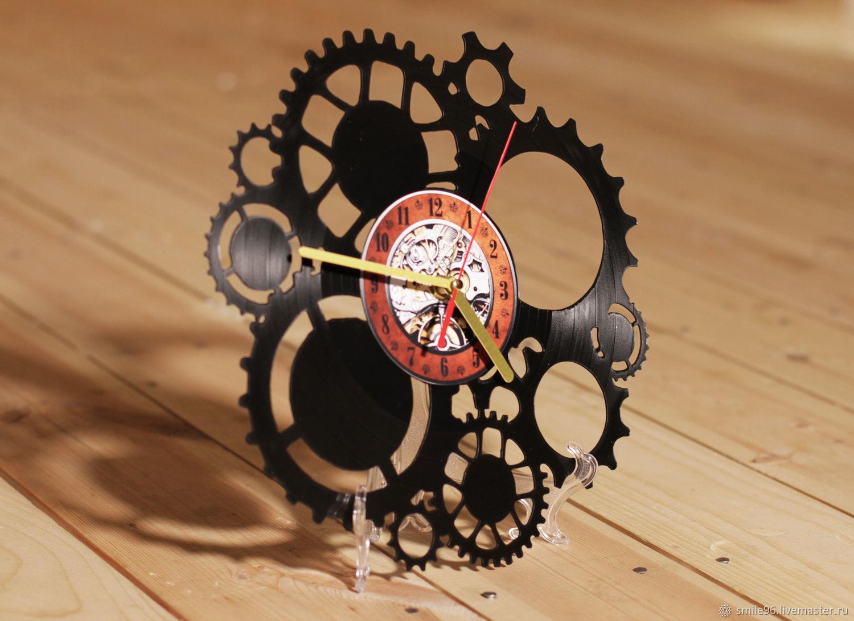 Часы для дома ручной работы. Ярмарка Мастеров - ручная работа. Купить Часы из виниловой пластинки 'Шестеренки'. Handmade. Часы
