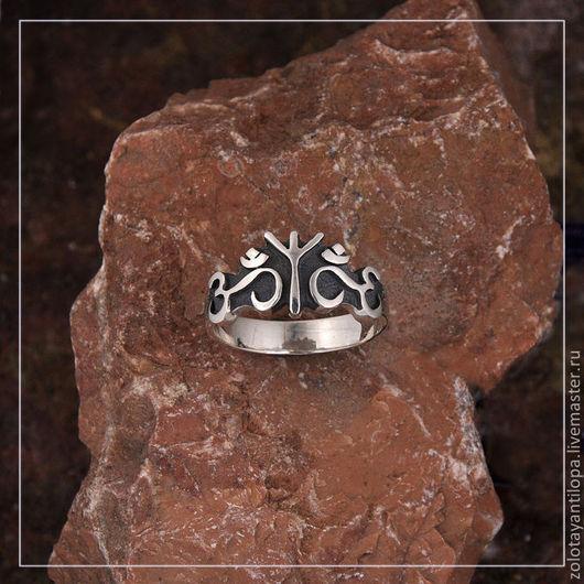 """Кольца ручной работы. Ярмарка Мастеров - ручная работа. Купить Кольцо """"Альгиз-Ом"""" из серебра 925 пробы. Handmade. серебряный"""