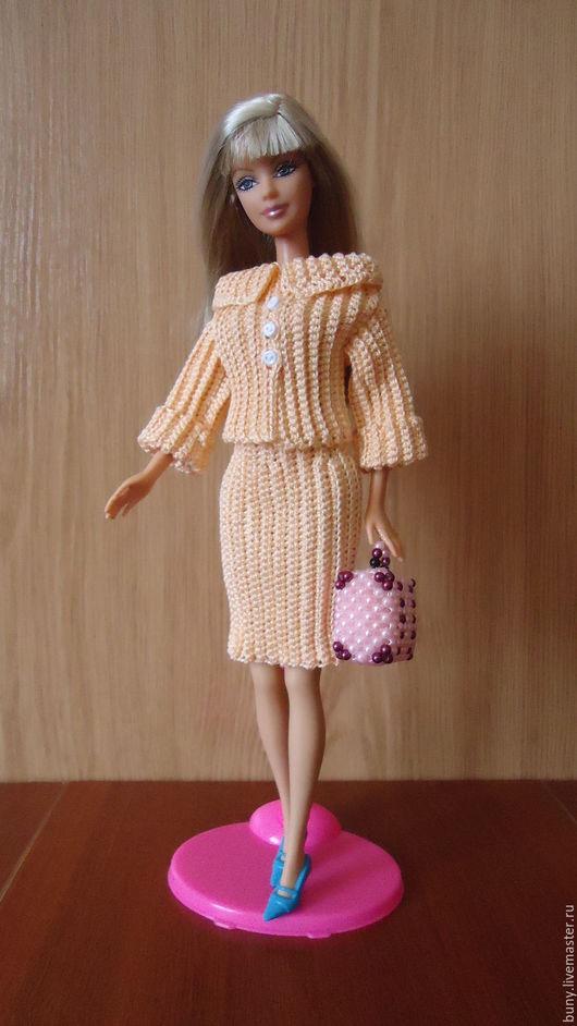 Одежда для кукол ручной работы. Ярмарка Мастеров - ручная работа. Купить Персиковый костюм. Handmade. Бежевый, одежда для барби, пуговки