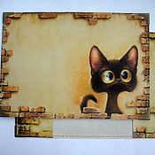 """Подарки к праздникам ручной работы. Ярмарка Мастеров - ручная работа обложка для паспорта """"любопытный кот2"""". Handmade."""