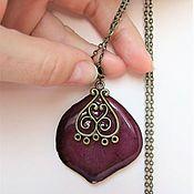 Украшения handmade. Livemaster - original item Pendant Burgundy rose with a Real Rose Petal Boho Jewelry Resin. Handmade.