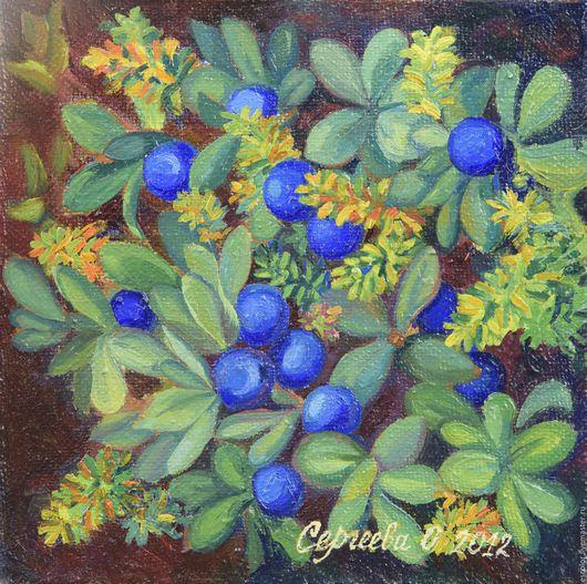 Натюрморт ручной работы. Ярмарка Мастеров - ручная работа. Купить Голубика. Handmade. Комбинированный, ягоды, ягоды и листья, голубика, черника