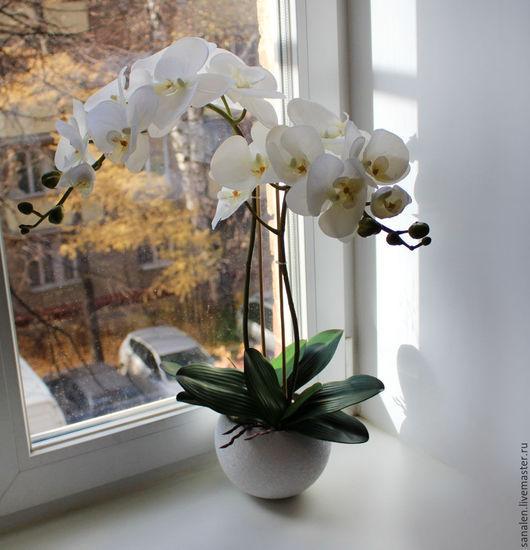 Интерьерные композиции ручной работы. Ярмарка Мастеров - ручная работа. Купить Орхидея белая латекс. Handmade. Белый, композиция из орхидей