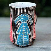 """Кружки ручной работы. Ярмарка Мастеров - ручная работа Кружка """" Голубая Девочка гуляет в Лесу"""". Handmade."""