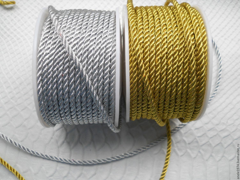 Шнур витой металлизированный 3мм, Шнуры, Тольятти, Фото №1
