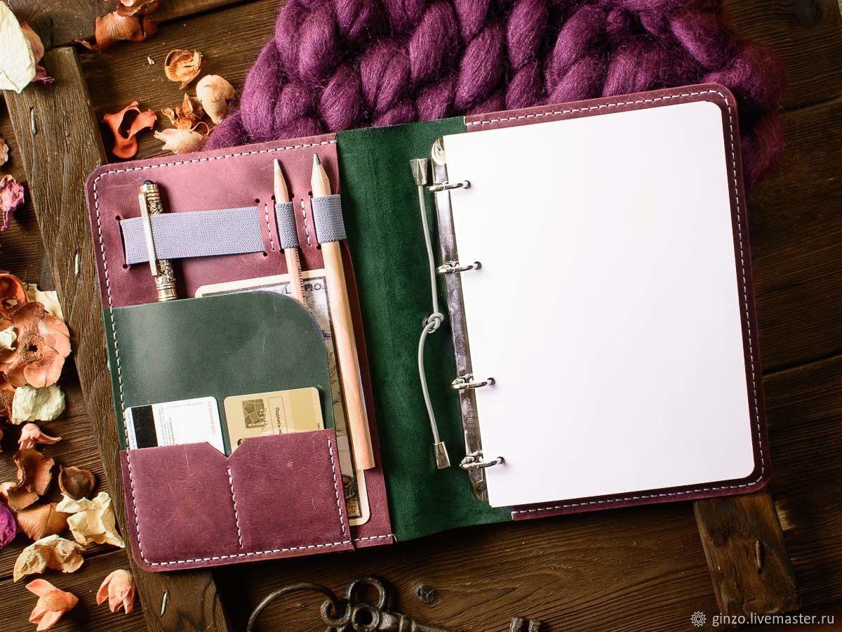 Кожаный ежедневник на кольцах А5 LEGACY цвет Зеленый с Бордовым, Ежедневники, Тула,  Фото №1