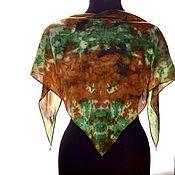 Аксессуары handmade. Livemaster - original item Shawl kerchief triangular bandana made of crepe de chine hand painted. Handmade.