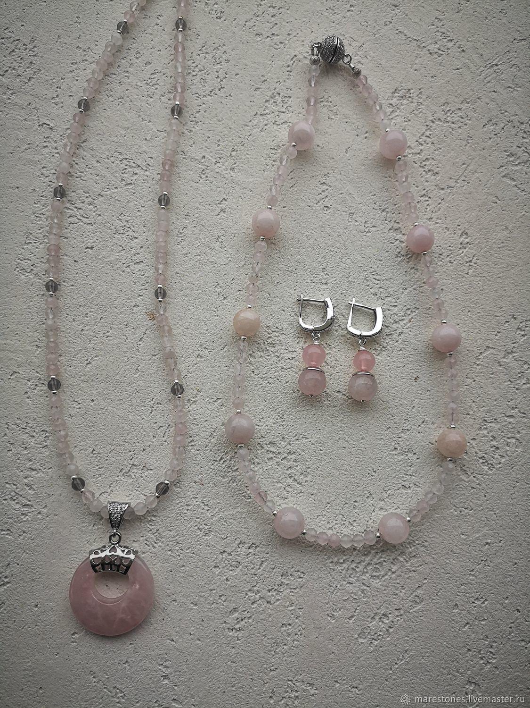 Колье и серьги из розового кварца, Колье, Тула,  Фото №1