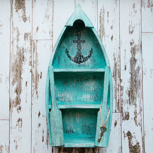 Мебель ручной работы. Ярмарка Мастеров - ручная работа. Купить Полка-лодка для хранения мелочей «Морское путешествие». Handmade. Голубой