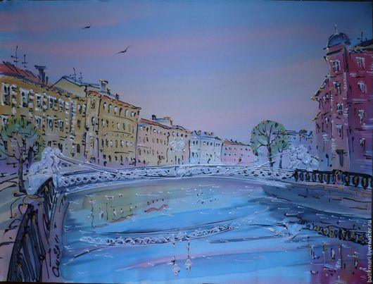 Город ручной работы. Ярмарка Мастеров - ручная работа. Купить Картина Львиный мост. Handmade. Мятный, картина в подарок
