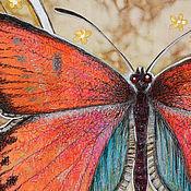 """Картины и панно ручной работы. Ярмарка Мастеров - ручная работа """"Огненная бабочка"""". Handmade."""