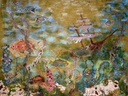 """Пейзаж ручной работы. Ярмарка Мастеров - ручная работа. Купить Картина из шерсти """"Морские глубины"""". Handmade. Подводный мир, рыба"""