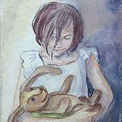 Картины и панно ручной работы. Ярмарка Мастеров - ручная работа Акварельная миниатюра Хозяйка. Handmade.