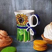 Посуда handmade. Livemaster - original item Bouquet mug - Sunflowers. Handmade.