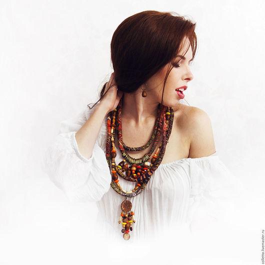 """Колье, бусы ручной работы. Ярмарка Мастеров - ручная работа. Купить Текстильное украшение """"Африка"""". Handmade. Разноцветный, длинное украшение"""