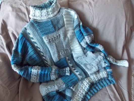 Кофты и свитера ручной работы. Ярмарка Мастеров - ручная работа. Купить Свитер женский Джинсовый пэчворк. Handmade. Синий