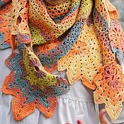 Аксессуары ручной работы. Ярмарка Мастеров - ручная работа Ажурная шаль с осенними листьями Госпожа Осень. Handmade.
