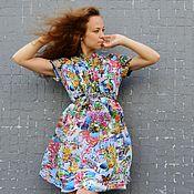 Одежда ручной работы. Ярмарка Мастеров - ручная работа Платье из французского шифона с коротким рукавом КУРОРТ. Handmade.