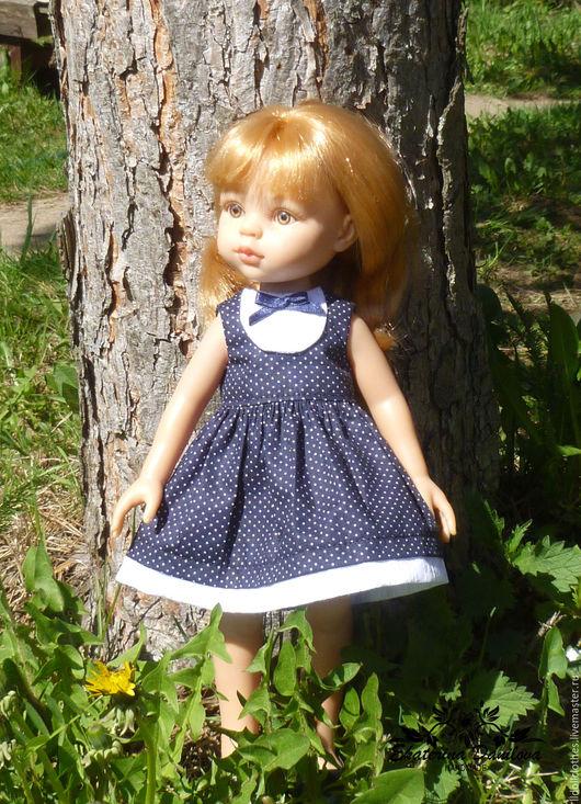 Одежда для кукол ручной работы. Ярмарка Мастеров - ручная работа. Купить Платье для куклы Paola Reina. Handmade. Тёмно-синий