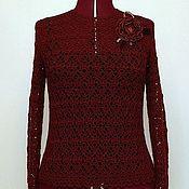 Одежда handmade. Livemaster - original item Cashmere Cardigan women`s knit crochet Burgundy.. Handmade.