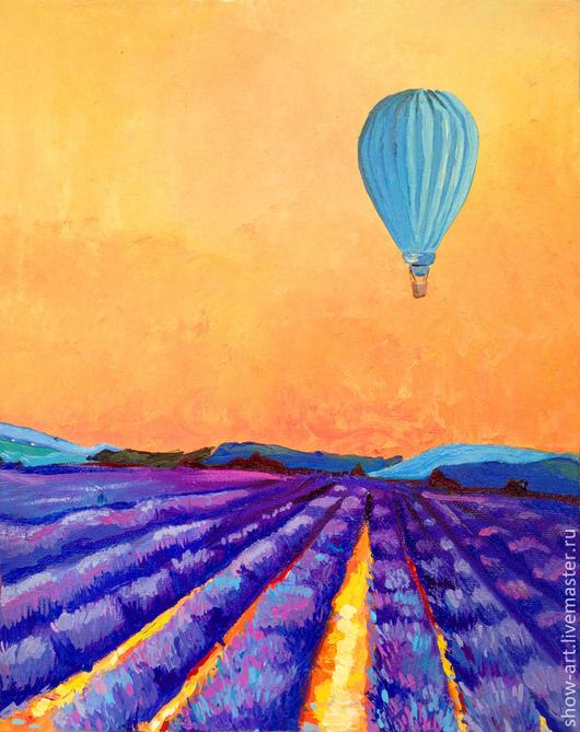 """Пейзаж ручной работы. Ярмарка Мастеров - ручная работа. Купить Картина маслом """"На большом воздушном шаре"""". Handmade. Фиолетовый"""