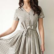 "Одежда handmade. Livemaster - original item ""Summertime"". Grey check dress, summer shirt dress, pleated midi skirt. Handmade."
