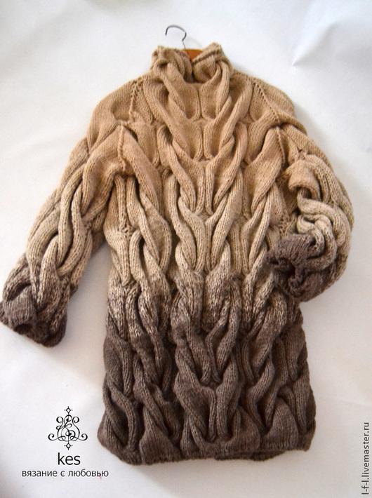 """Кофты и свитера ручной работы. Ярмарка Мастеров - ручная работа. Купить Вязаный свитер """"Бежевый"""". Handmade. Однотонный, косы, шерсть"""