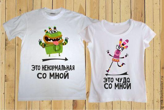"""Футболки, майки ручной работы. Ярмарка Мастеров - ручная работа. Купить Парные футболки """"Ку-ми ку-ми"""". Handmade."""
