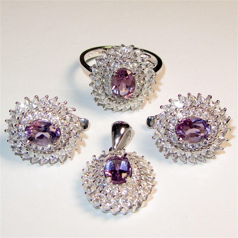 Серьги, кольцо, кулон с аметистом серебряные, Комплекты украшений, Самара,  Фото №1