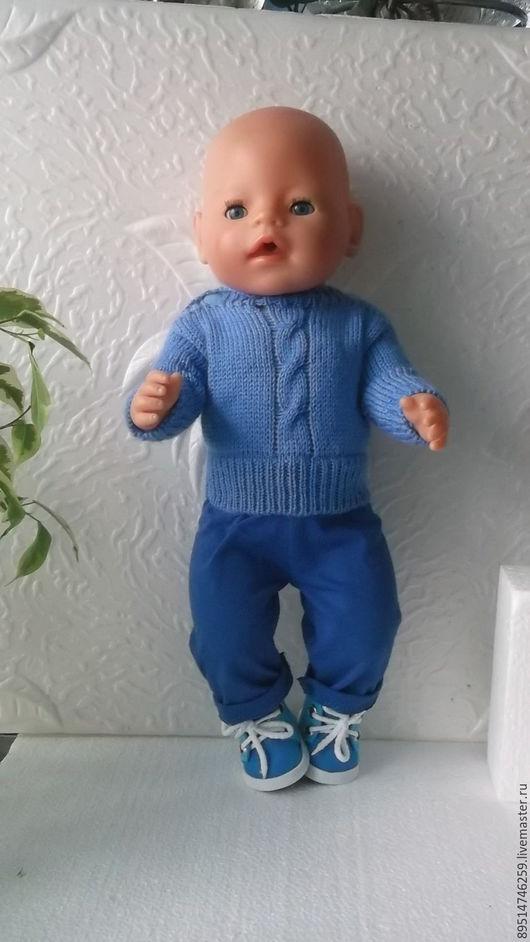 Одежда для кукол ручной работы. Ярмарка Мастеров - ручная работа. Купить Вязаный свитерок для куклы Беби Борн. Handmade. Голубой