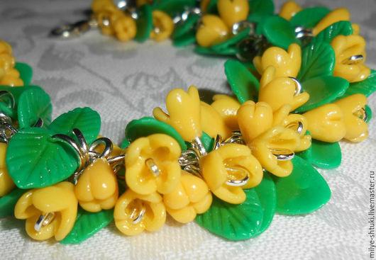 Браслеты ручной работы. Ярмарка Мастеров - ручная работа. Купить весенний браслет. Handmade. Желтый, полимерная глина