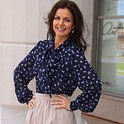 Одежда ручной работы. Ярмарка Мастеров - ручная работа Блузка Арабель - шифоновая блузка / синяя. Handmade.
