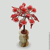 """Фен-шуй и эзотерика ручной работы. Ярмарка Мастеров - ручная работа Миниатюрное дерево из красного коралла """"Любовное"""" в вазочке из оникса. Handmade."""