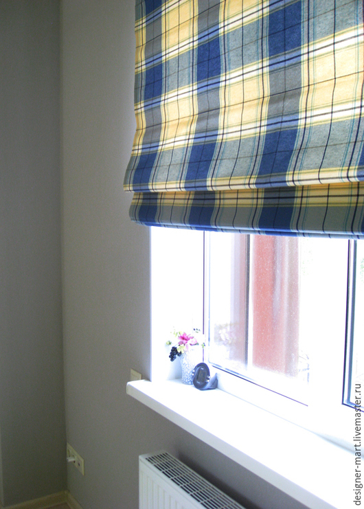 Текстиль, ковры ручной работы. Ярмарка Мастеров - ручная работа. Купить Римская штора в клетку. Handmade. Синий, римская штора