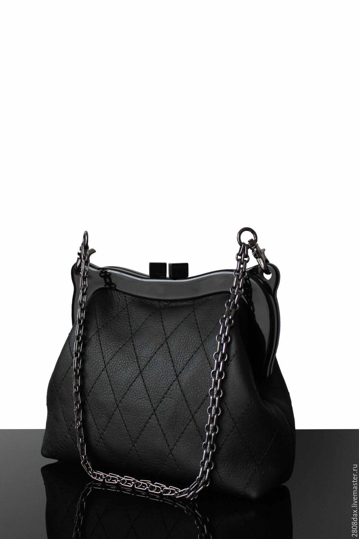 Черная кожаная сумка, на фермуаре, Сумка с фермуаром, Бордо,  Фото №1