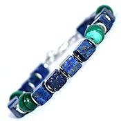Украшения handmade. Livemaster - original item Bracelet made of natural lapis lazuli and malachite. Handmade.
