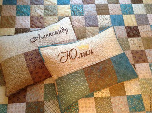 """Текстиль, ковры ручной работы. Ярмарка Мастеров - ручная работа. Купить """"Голубая лагуна"""" лоскутное покрывало, комплект. Handmade. Покрывало"""