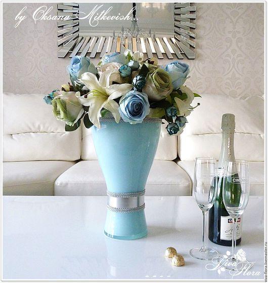 """Интерьерные композиции ручной работы. Ярмарка Мастеров - ручная работа. Купить """"Марина"""" Интерьерный букет в стеклянной вазе. Handmade. Голубой"""