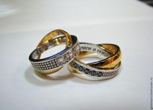 Обручальные кольца из белого и желтого золота с бриллиантами. Изготовление под заказ