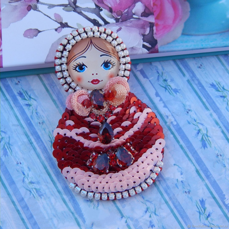 Brooch matryoshka red with pink embroidered handmade, Brooches, Krasnoyarsk,  Фото №1