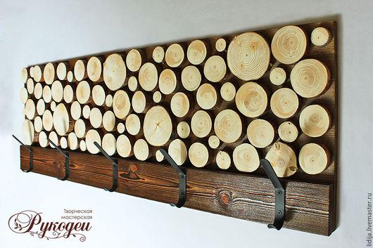 """Прихожая ручной работы. Ярмарка Мастеров - ручная работа. Купить Деревянная вешалка """"Мозайка"""".. Handmade. Коричневый, вешалка из дерева, дерево"""