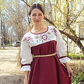 Одежда ручной работы. Ярмарка Мастеров - ручная работа Цветы  на белом  и вишневый лен. Handmade.