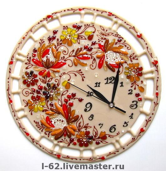 Часы для дома ручной работы. Ярмарка Мастеров - ручная работа. Купить часы из стекла, фьюзинг   Осенний поцелуй. Handmade.