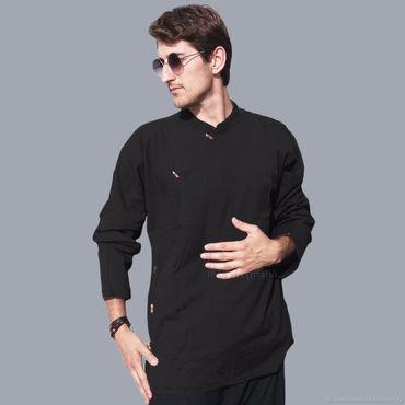Одежда ручной работы. Ярмарка Мастеров - ручная работа Черная Тибетская рубашка из хлопка. Handmade.