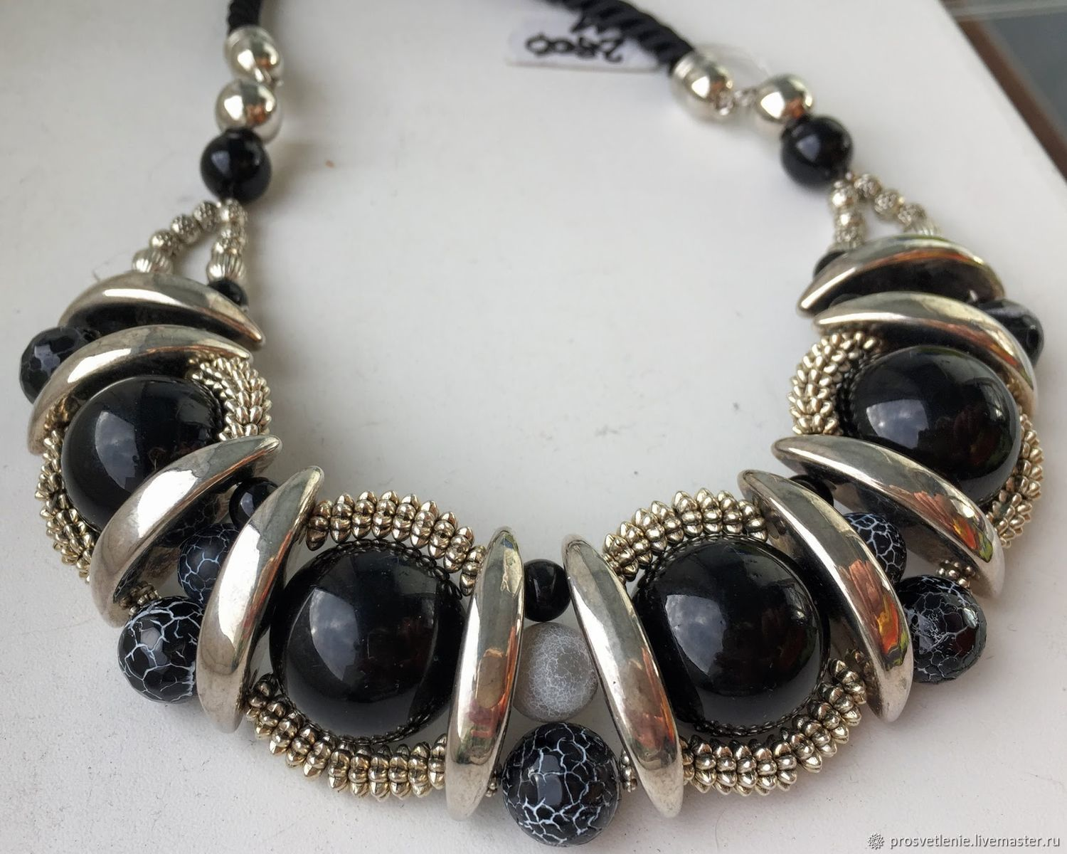 Large jewelry on cords made of natural stones, stylish necklace, Necklace, Voronezh,  Фото №1