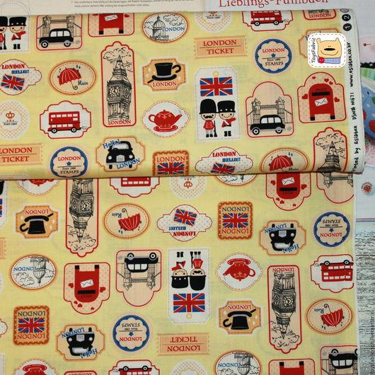 Шитье ручной работы. Ярмарка Мастеров - ручная работа. Купить Ткань корейский хлопок для пэчворка Лондон на желтом (20459). Handmade.