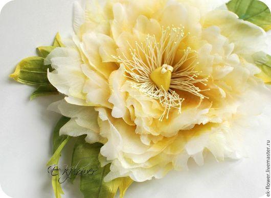 """Цветы ручной работы. Ярмарка Мастеров - ручная работа. Купить Цветы из шелка. Брошь-цветок Пион """"Шанте"""". Handmade. Желтый"""